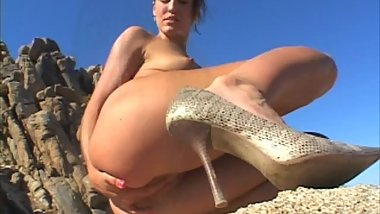 Naked in the Dessert Tasting Her Own Cum