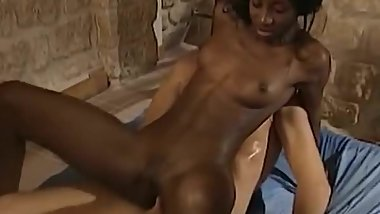 Passionate ebony slut riding cock with her new friend
